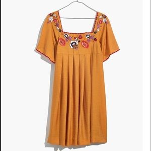 Madewell Embroidered Dress Bronzed